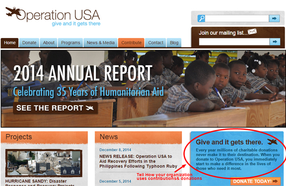 Operation USA is an International Relief Agency
