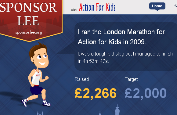 Sponsor Lee to run the London Marathon for Action for Kids